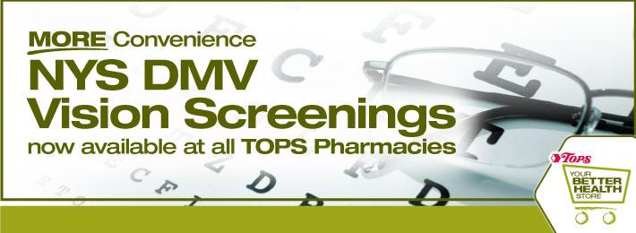 NYS DMV Vision Screenings available at all TOPS Pharmacies